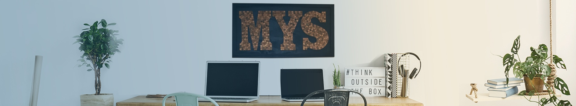 office desk and MYS sign